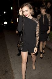 Lily Collins Night Out Style - Leaving IL Cielo Restaurant in Beverly Hills - Nov. 2014