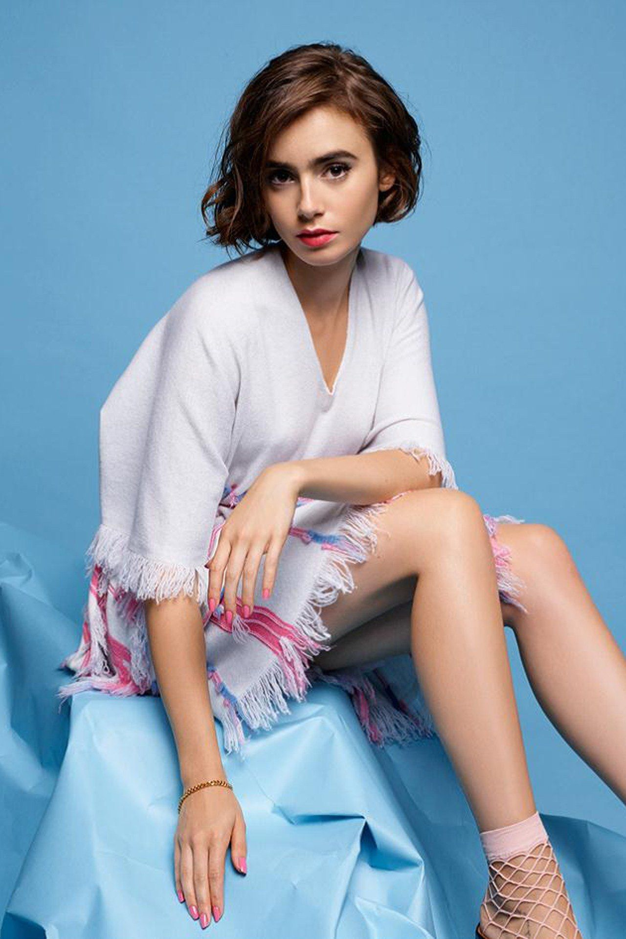 Lily Collins Photoshoot - Barrie Knitwear Spring/Summer 2015