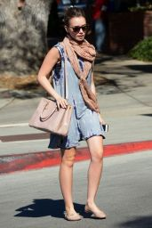 Lily Collins Street Fashion - Leaving a Bar in Los Angeles, November 2014