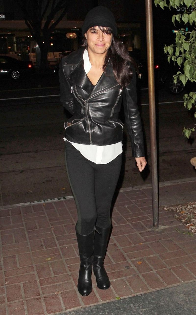 Michelle Rodriguez Night Out Style - Madeo Restaurant in Los Angeles, November 2014