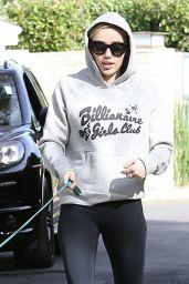 Miley Cyrus in Leggings - Walking Her Dog in LA - November 2014
