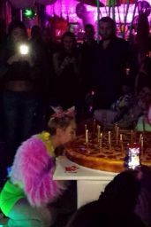 Miley Cyrus Night Out Style - Arriving at Factory Nightclub for Her Birthday Party in Los Angeles