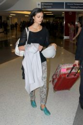 Morena Baccarin at LAX Airport - October 2014