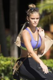 Nina Agdal in Leggings and Sports Bra - Riding a Bike in Miami - November 2014