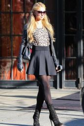 Paris Hilton Style - Out in Mini Skirt - November 2014