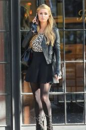 Paris Hilton Style - Out in Mini Skirt - November 2014