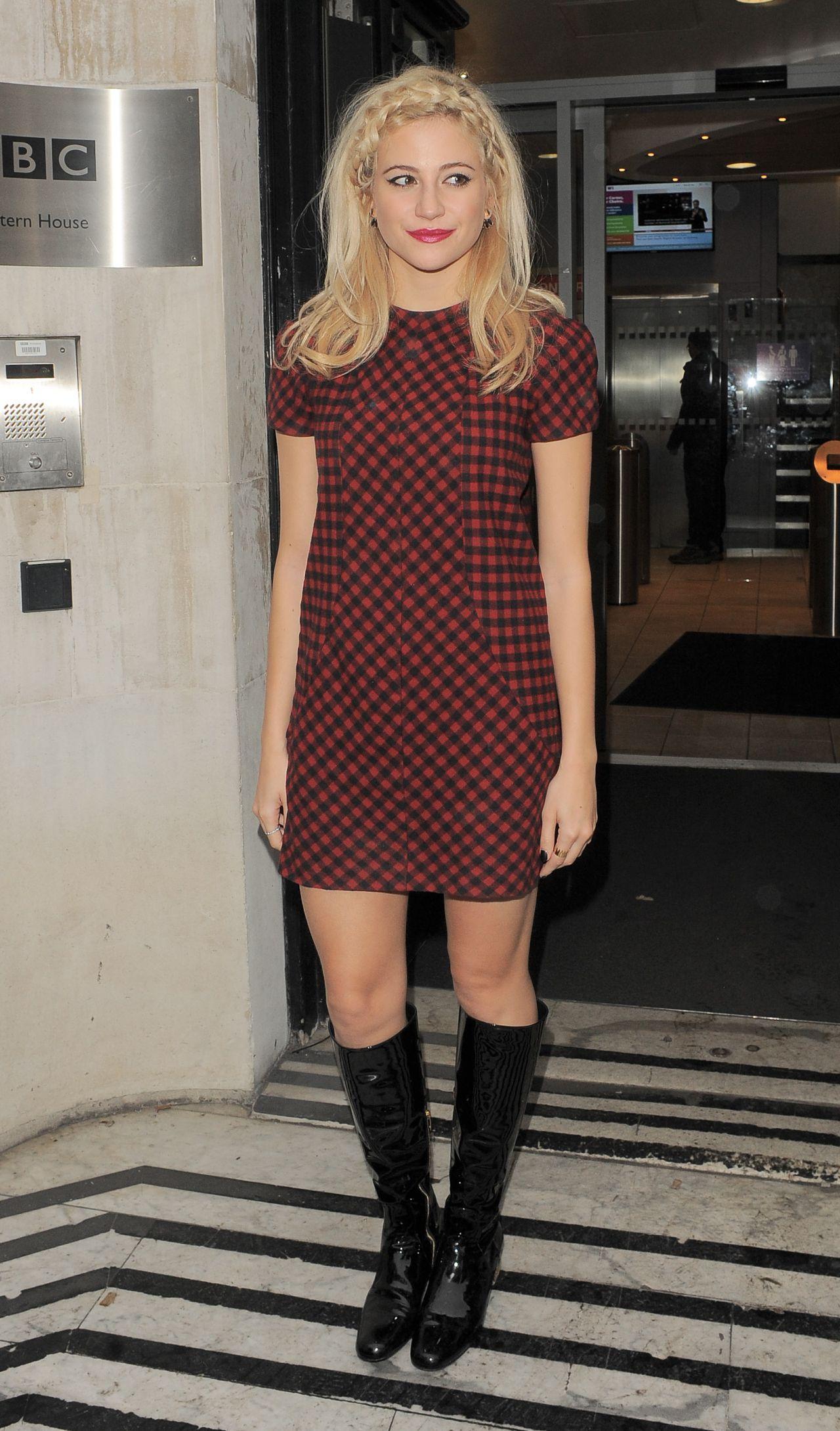 Pixie Lott in Mini Dress - Arriving at BBC Radio 2 Studios in London - Nov. 2014