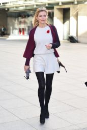 Rachel Riley Style and Fashion - at the BBC Radio Studios in London, October 2014
