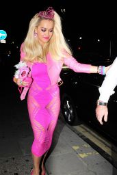 Rita Ora in Pink Dress - Leaving Death Of A Geisha Party
