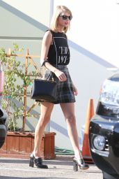 Taylor Swift Leggy in Mini Skirt - Leaving a Studio in Los Angeles - November 2014