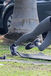 Alessandra Ambrosio - Doing Yoga at a park in Santa Monica - December 2014