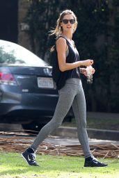 Alessandra Ambrosio - Doing Yoga at a park in Santa Monica - December 2014