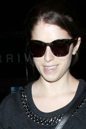 Anna Kendrick in Ripped Jeans - Arriving at LAX Airport in Los Angeles - December 2014