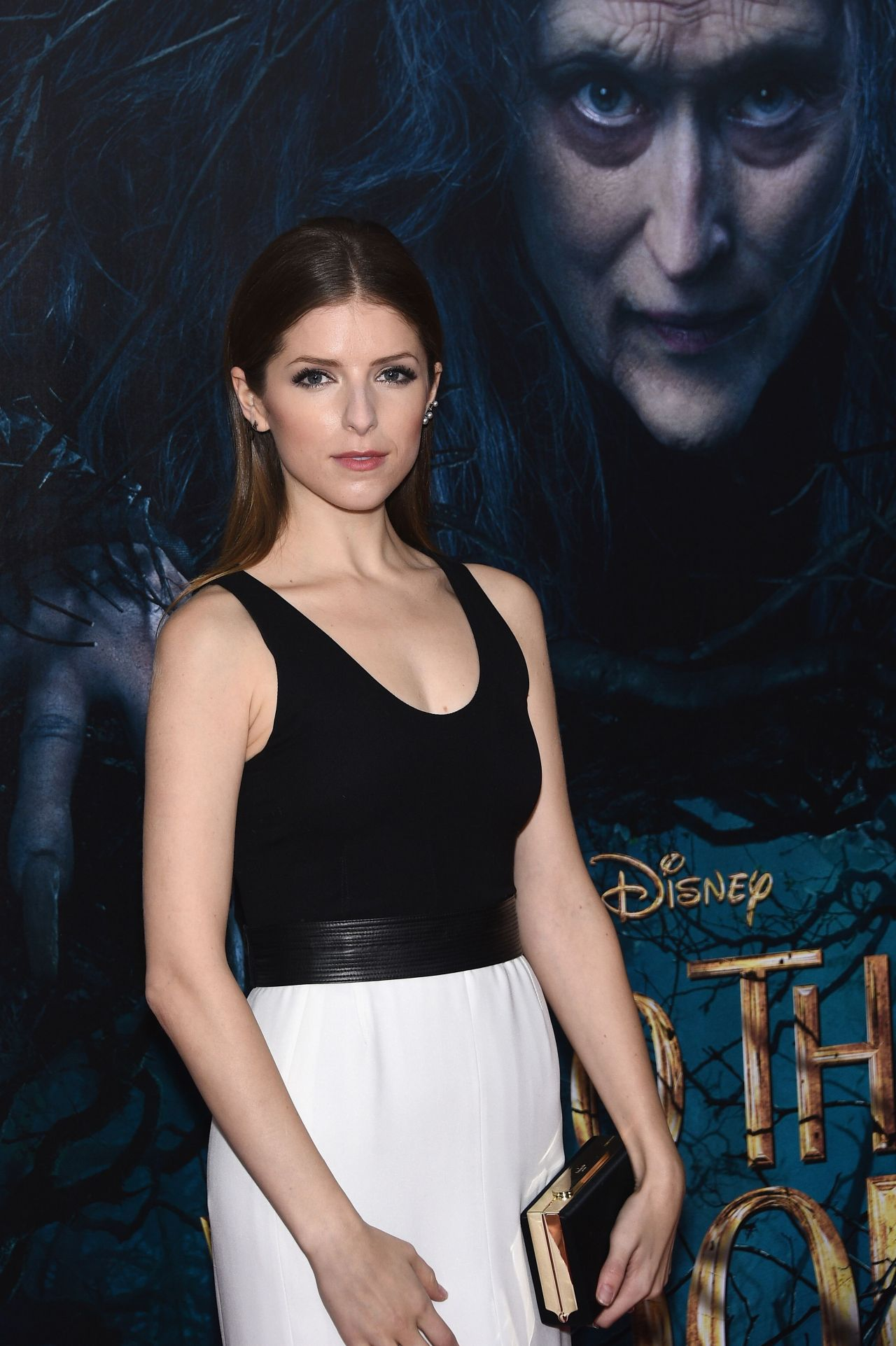 Anna kendrick wearing narciso rodriguez black and white silk georgette