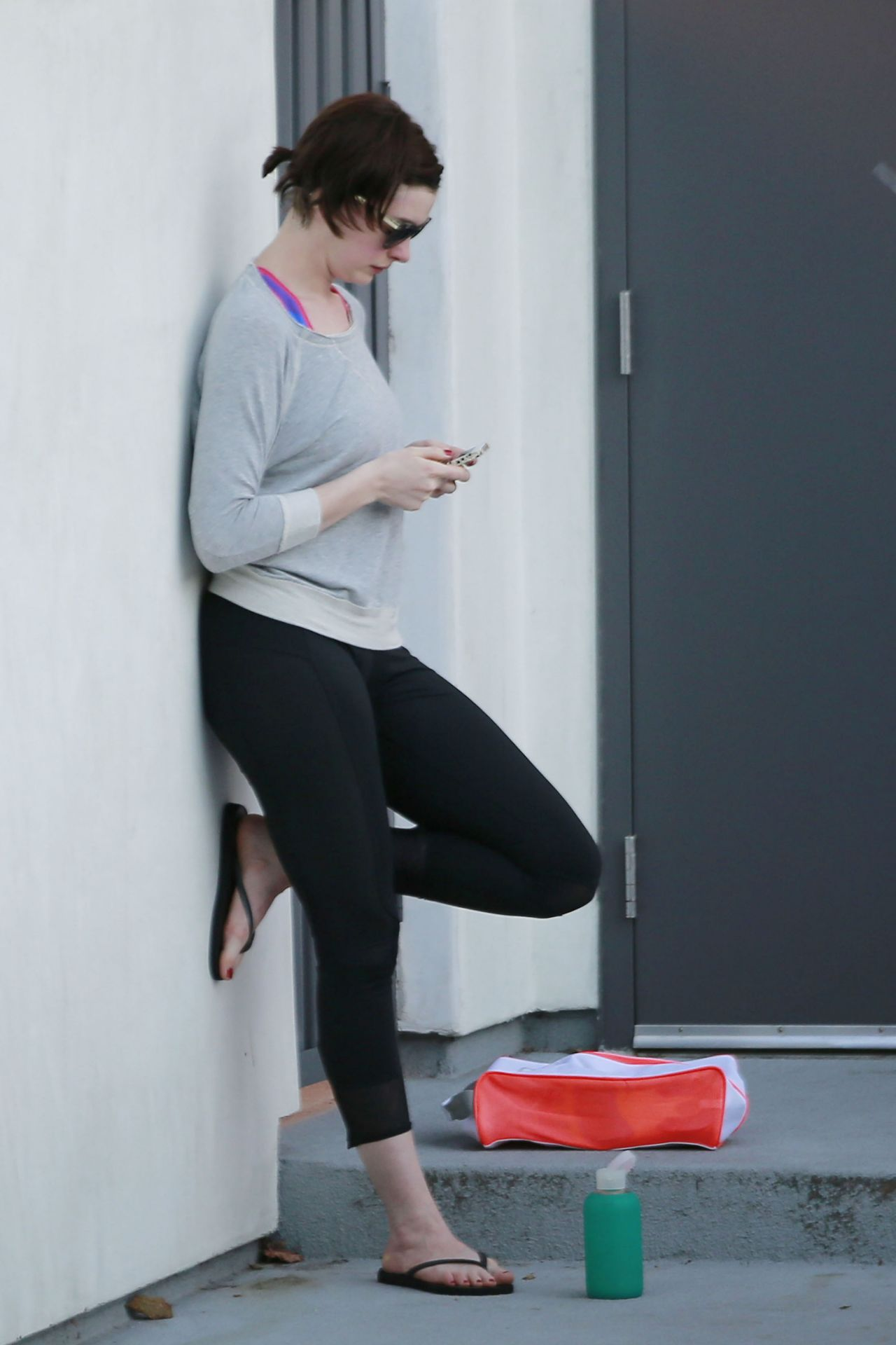 Anne Hathaway In Spandex Out In West Hollywood