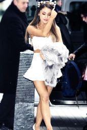 Ariana Grande Leggy in Mini Dress - Arriving at BBC Radio London - December 2014