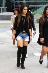 Becky G in Jeans Shorts at the Staples Center in Los Angeles, Dec. 2014