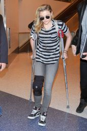 Chloe Moretz Wears Knee Brace & Uses Crutches - LAX Airport, December 2014
