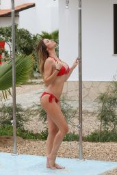 Chloe Sims in Red Bikini at a Pool in Cape Verde - December 2014