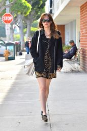 Dakota Johnson in Mini Dress - Out in West Hollywood, Dec. 2014