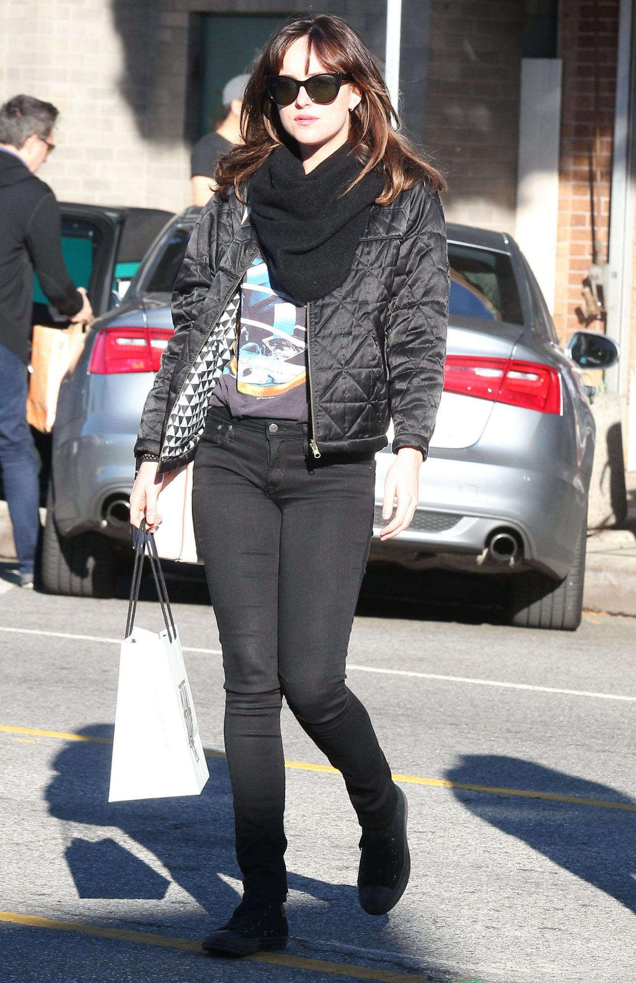 Dakota Johnson Street Style - Shopping in Los Angeles, Dec. 2014