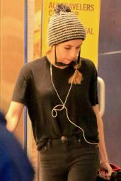 Emma Roberts Casual Style - Arrives at LAX Airport, Dec. 2014
