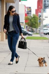 Emmy Rossum Street Style - Walking Her Dog in Los Angeles, December 2014