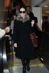 Emmy Rossum Winter Style - Arriving at LAX Airport in Los Angeles - December 2014