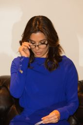 Eva Longoria all in Blue - Visits Marina Interiors furniture store Dubai - December 2014