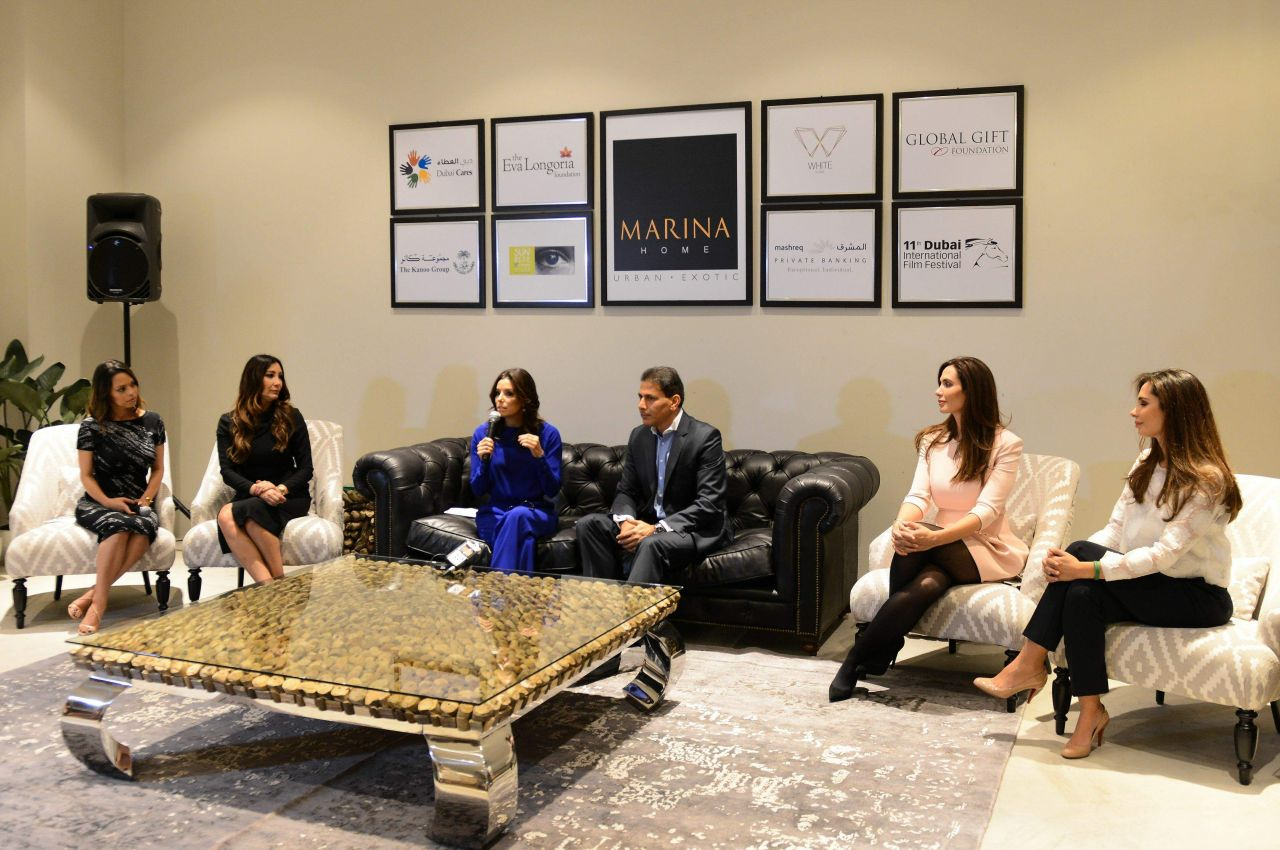 Eva Longoria All In Blue Visits Marina Interiors Furniture Store Dubai December 2014