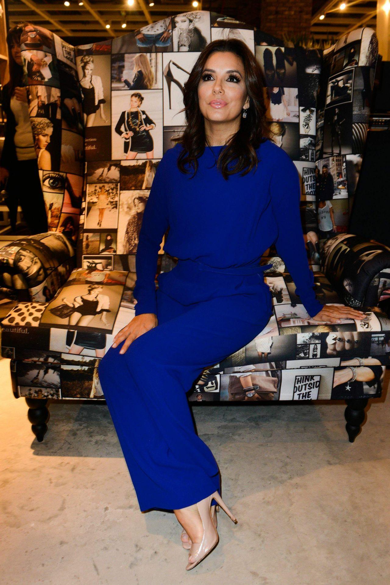 Eva Longoria All In Blue Visits Marina Interiors Furniture Store Dubai December 2014