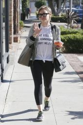 Hilary Duff in Leggings - Out in Los Angeles, December 2014