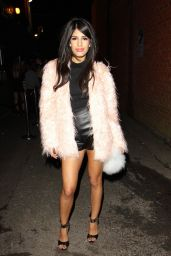 Jasmin Walia Leggy in Leather Shorts at The Villa Epping Nightclub in Essex