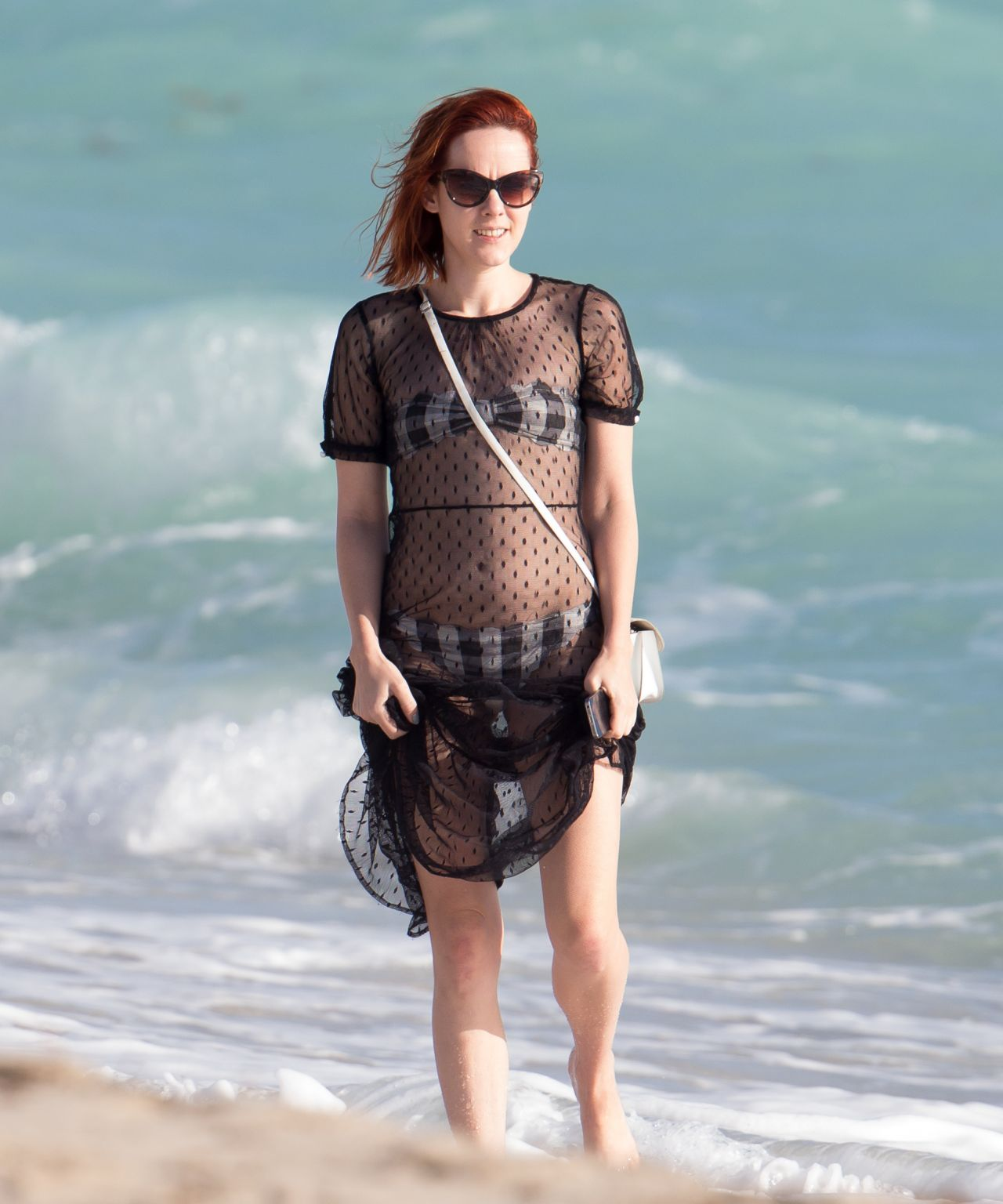 Jena Malone Bikini Candids - Beach in Miami, December 2014