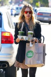 Jessica Alba in Mini Dress - Heads to the Office in Santa Monica - December 2014