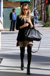 Jessica Alba Leggy in Mini Dress - Stops By Whole Foods In LA - December 2014