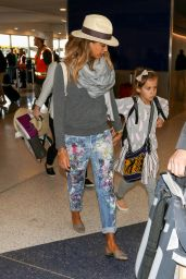 Jessica Alba With Her Family at LAX Airport, December 2014