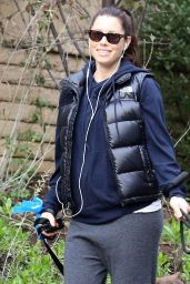 Jessica Biel - Taking Her Dogs for a Walk in Hollywood - December 2014