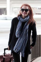 Jessica Chastain Street Style - at LAX Airport in Los Angeles, December 2014
