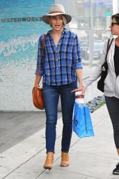 Julianne Hough in Plaid Shirt and tighjt Jeans - Shopping at Kitson in West Hollywood - Dec. 2014
