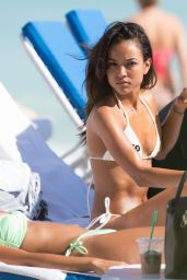 Karrueche Tran Bikini Pictures - at a Beach in Miami - December 2014