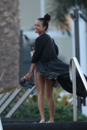 Karrueche Tran in a Bikini Bottoms at a beach in Miami - December 2014