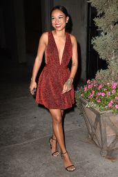 Karrueche Tran in Mini Dress - Dinner at Aventine in Hollywood, Dec. 2014