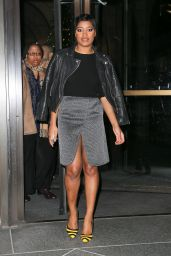 Keke Palmer Leggy in Mini Dress - Out in New York City - December 2014