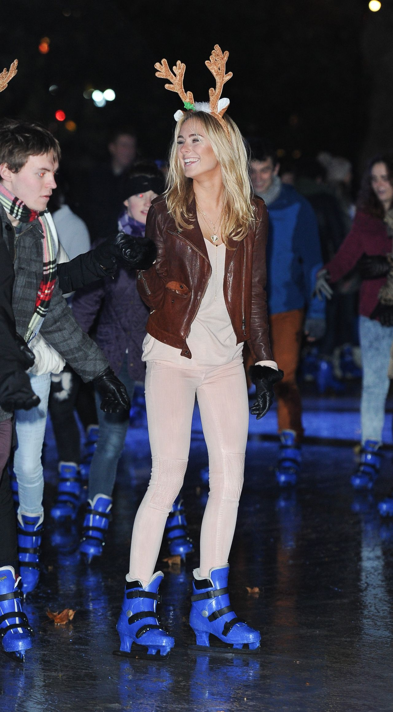 Kimberley Garner Leggy - Ice skating at the Natural History Museum Ice Rink in London - December 2014