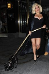 Lady Gaga in Short Tight Dress - Out in New York City - December 2014