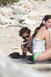 Lana Del Rey in Fuss-Free Beach Outfit on a Rocky Caribbean Beach, December 2014