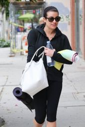 Lea Michele in Leggings - Going to Yoga Class in Los Angeles, Dec. 2014