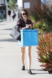 Lily Collins Leggy in Jeans Shorts - Out in Los Angeles, December 2014