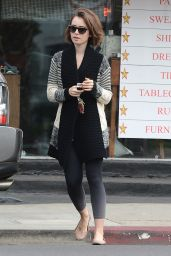 Lily Collins Street Style - Leaving Dry Cleaning in Los Angeles